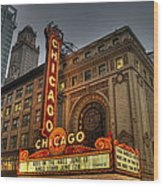 Chicago Theatre Hdr Wood Print