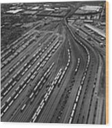 Chicago Transportation 02 Black And White Wood Print