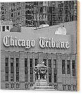 Chicago Tribune Facade Signage Bw Wood Print