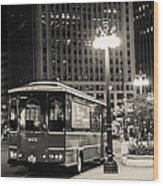 Chicago Trolly Stop Wood Print