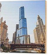 Chicago Trump Tower At Michigan Avenue Bridge Wood Print by Paul Velgos