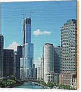 Chicago Trump Tower Under Construction Wood Print