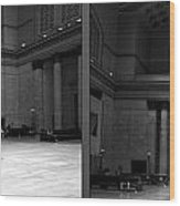 Chicago Union Station The Great Hall 2 Panel Bw Wood Print