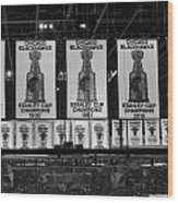 Chicago United Center Banners Bw Wood Print