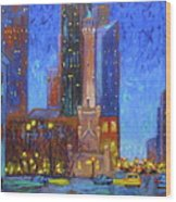 Chicago Water Tower At Night Wood Print