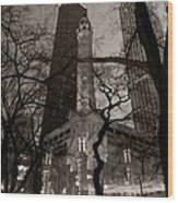 Chicago Water Tower B W Wood Print