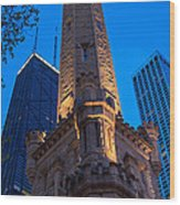 Chicago Water Tower Panorama Wood Print by Steve Gadomski