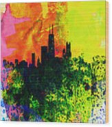 Chicago Watercolor Skyline Wood Print