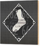 Chicago White Sox Baseball Vintage Logo License Plate Art Wood Print