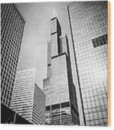 Chicago Willis-sears Tower In Black And White Wood Print by Paul Velgos
