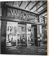 Chicago Willis-sears Tower Sign In Black And White Wood Print