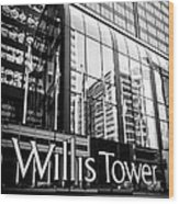 Chicago Willis Tower Sign In Black And White Wood Print by Paul Velgos