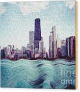 Chicago Windy City Digital Art Painting Wood Print