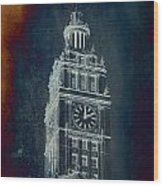 Chicago Wrigley Clock Tower Textured Wood Print