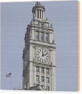 Chicago Wrigley Clock Tower Wood Print