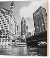 Chicago Wrigley Tribune Equitable Buildings Black And White Phot Wood Print