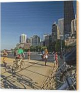Chicago's Lakefront Bike Path On A Summer Evening Wood Print