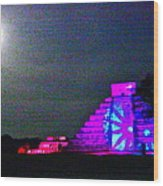 Chichen Itza Full Moon Wood Print