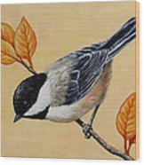 Chickadee And Autumn Leaves Wood Print