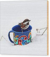 Chickadee And Tin Cup In Snow Wood Print