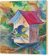 Chickadee Bungalow Wood Print