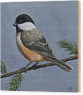 Chickadee Charm Wood Print by Crista Forest