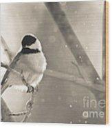 Chickadee Sparkles Wood Print