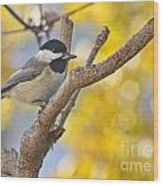 Chickadee With His Prize Wood Print