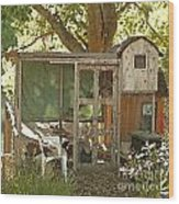 Chicken Coop On The Farm Wood Print by Artist and Photographer Laura Wrede