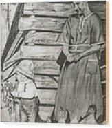 Chicken Coop - Woman And Son - Feeding Chickens Wood Print
