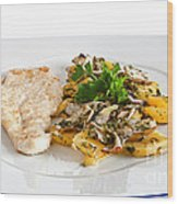 Chicken Escalope With Potatoes And Mushroom Wood Print