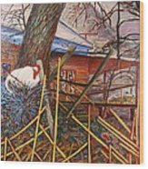 Chicken On Fence  Zinc Arkansas Wood Print