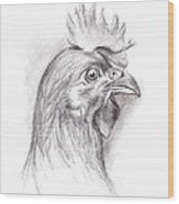 Chicken Portrait In Charcoal Wood Print