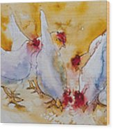 Chickens Feed Wood Print