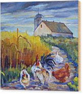 Chickens In The Cornfield Wood Print by Peggy Wilson