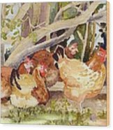 Chickens In The Hedge II Wood Print