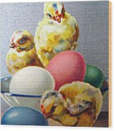 Chicks And Eggs Wood Print