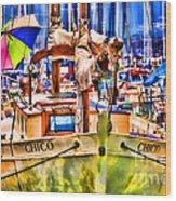 Chico Sail Boat By Diana Sainz Wood Print