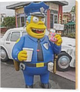 Chief Clancy Wiggum From The Simpsons Wood Print
