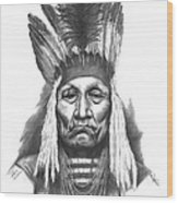 Chief Curly Bear Wood Print by Lee Updike