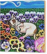 Chihuahua In Flowers Wood Print by Genevieve Esson