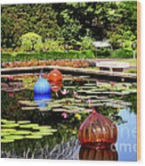 Chihuly Ball Lily Pond Wood Print