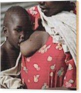 Child Breastfeeding Wood Print