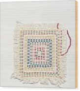 Child Embroidery Wood Print by Kerstin Ivarsson
