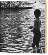Child Fishing Wood Print