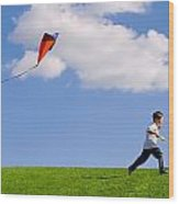 Child Flying A Kite Wood Print