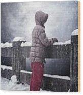 Child In Snow Wood Print