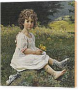 Child In The Meadow Wood Print