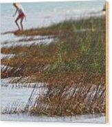 Child Playing On The Beach Mackinaw City Wood Print