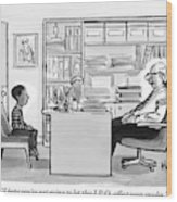 Child Sits Across Desk From Principal Wood Print